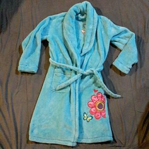 SO girls 7/8 blue bath robe w flower/butterfly